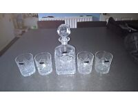 Thomas Webb Crystal Decanter with Four Glasses