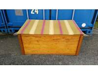 Fantastic large wooden storage chest ottoman trunk with retro fabric top