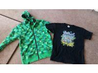 Minecraft hoodie and TShirt size YXL