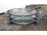 OVAL GLASS/CHROME TV STAND **£15**