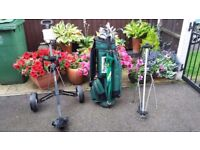 GOLF CLUBS AND BAG WITH TROLLEY UMBRELLA AND STAND
