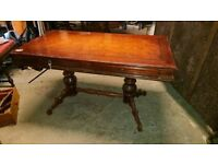 Polished wooden table with 2 drawers in good condition W 138cm can deliver