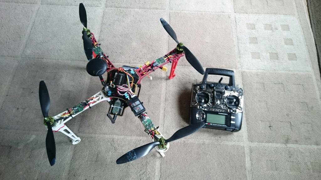 450 size rc dronequadcopter with gps and transmitterin Rainham, KentGumtree - 450 size drone with apm flight controller and GPS, it has loiter mode and altitude hold mode as well as stabilise mode. It is fully customisable and has return to home. Comes with batteries and turnigy 9xr transmitterCollection only