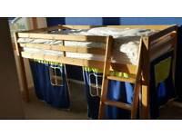 Pine Cabin Bed Midsleeper Blue