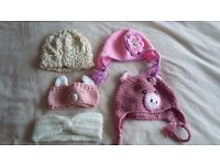 Toddler girls hats (3) and ear warmers (2)