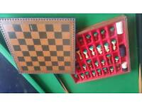 Leather wooden chess and draughts set