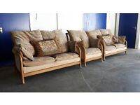 FABRIC CINTIQUE SET 2 SEATER SOFA WITH PILLOWS & CHAIR / ARMCHAIR CONSERVATORY CAN DELIVER