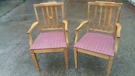 SET OF 2 wooden Carver chairs with fabric seats