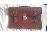 Brown leather Cheney satchel/briefcase