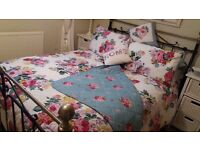 Two king-size quilt covers + 8 pillow cases + quilted trow + two cushions