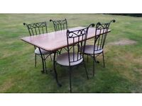 Wrought iron kitchen dinner dining table set with four 4 chairs real genuine wood