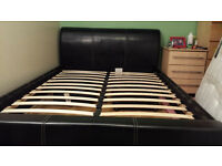 Double bed frame (faux leather brown)