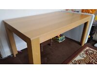 Oak veneer dining table with faux leather four chairs.Bargain price
