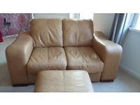 Tan Leather Sofas & Footstool