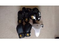Youths Martial Arts / Boxing Sparring gear, head guard, gloves, foot guards, etc. - hardly used