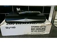 Sky + hd box with remote control, power cable,