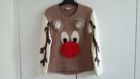 Girls Next Reindeer jumper with flashing red nose size 8 years.