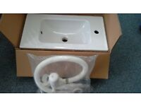 IKEA GLOSS WHITE CERAMIC WASH BASIN + VANITY UNIT NEW NO TAP