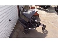 PHIL AND TEDS BLACK & GREY DOUBLE STROLLER BUGGY AND COVER VERY EASY KILBURN NW2 PICK UP