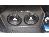JL AUDIO 2 X 12 INCH SUBWOOFERS AND JL AUDIO 500JX AMP