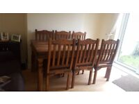 Jali Sheesham Solid Indian Wooden Dining table and 6 chairs