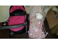 Silver cross dolls pram with cot