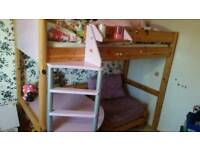 Stompa pink/lilac high sleeper with single futon