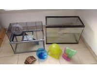 Two large Hamster/Gerbil cases with lots of accessories.