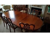 Marks and Spencers Rosewood Dining Table and Six Matching Chairs