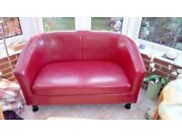 Red Leather Sofa - good condition 75cm high x 68cm deep x 125cm wide