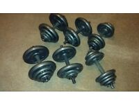 Dumbbells + bench – 6 x bars & collars + 96 kg of cast-iron plates + flat/incline bench with curl*