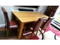 Oak dining room table and 4 chairs table size 90cm wide x 180cm long