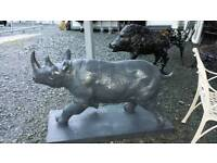 Cast iron stags & bulls head and other animals