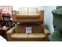 3 & 2 tan Leather suite
