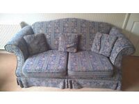 Matching Sofas, Armchairs and Footstool for sale.