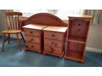 Pine Headboard, 2 Bedside Tables, Small bookshelf and a Chair