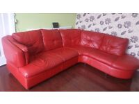 A good condition corner DFS real leather sofa