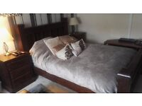 Excellent Luxury Dark Wood king bed with 2 bedside cabinets