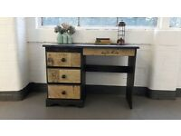 Vintage/shabby chic wooden desk with graphics