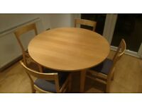 Round Habitat Dining table and 4 chairs
