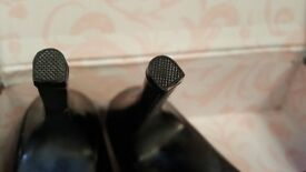 Bordello Black Gloss Triple Strappy Platform Stiletto Heels, UK size 9, EU size 42