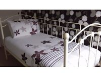 Spacious room single bed. Fitted wardrobe ,chests of drawers. Bedlinen and towels supplied.
