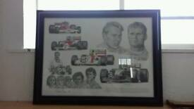 "Formula 1 "" Tribute to McLaren"" framed & signed print"