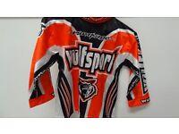 wulfsport race shirt motocross motox quad orange black age 3-4 approx