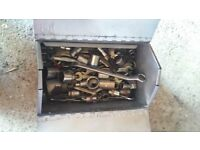 Tool box full of WW Whitworth spanners and sockets, some A/F