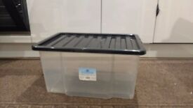 5 x 50 Litre clear plastic storage boxes with lid - can be nested or stacked