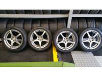 MVK 17 alloy wheels + 4 x tyres 225 45 17 Audi,VW,Bora,Skoda, Toyota....