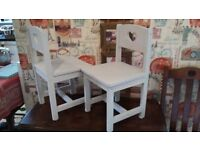 Children's / Doll's Solid Wood Chairs with Cut Out Hearts - £12 each