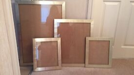 4 x gold photo/poster frames with black edges