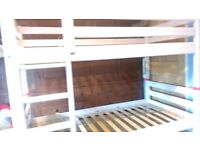 Solid wooden Bunkbed - great cond. - manufactured by Flexa. Includes castle-themed curtain surrounds